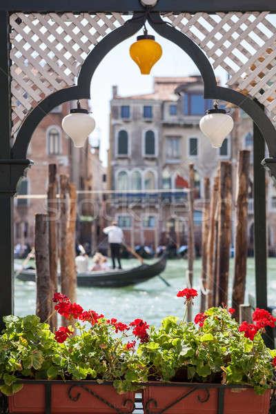 Gondola and houses in Venice Stock photo © artjazz
