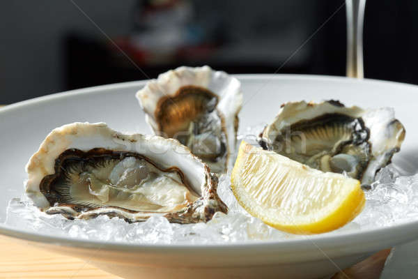 Oysters with lemon on plates Stock photo © artjazz
