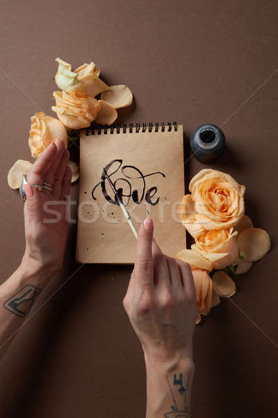 Diary or notebook with word love Stock photo © artjazz