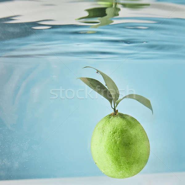 Wasser Kalk grüne Blätter Tröpfchen Luft grünen Stock foto © artjazz
