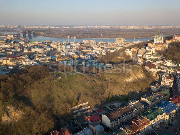 A bird's eye view, aerial view from drone of the Podol district, oldest historical center of Kiev, U Stock photo © artjazz