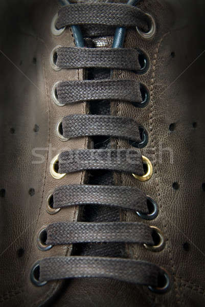 close-up laces on the brown boots Stock photo © artjazz