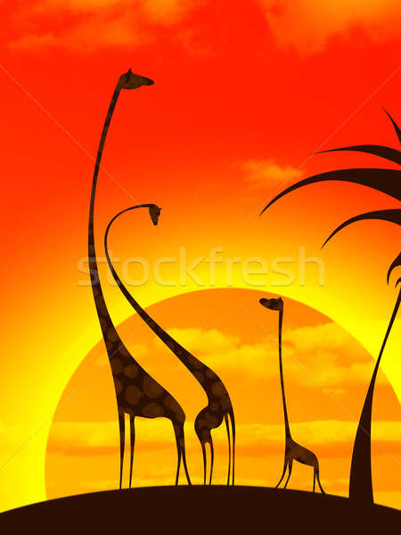 giraffe's family Stock photo © artjazz