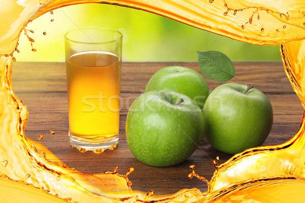 üveg almalé almák fa fából készült étel Stock fotó © artjazz