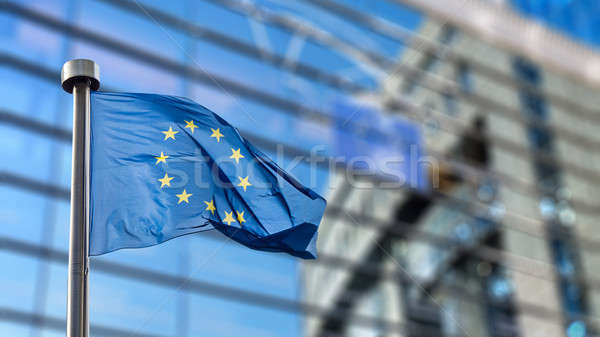 European Union flag against European Parliament Stock photo © artjazz