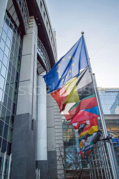 Vlaggen europese parlement Brussel België business Stockfoto © artjazz