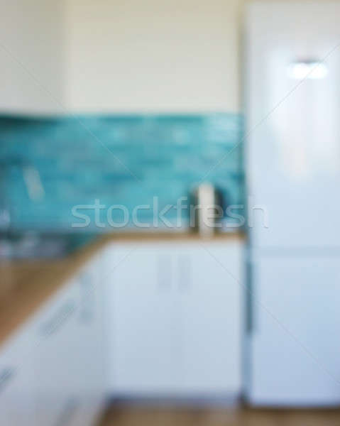 Moderne heldere schone keuken interieur roestvrij staal lens Stockfoto © artjazz