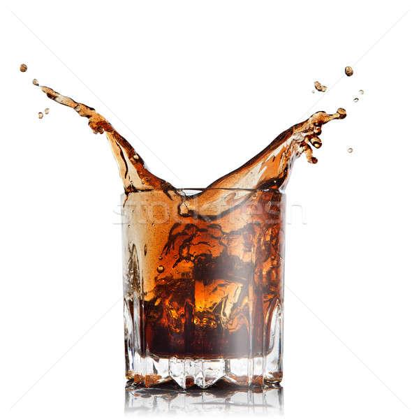 Splash Cola verre isolé blanche Photo stock © artjazz