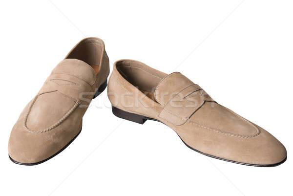 light brown male leather shoes isolated on white Stock photo © artjazz