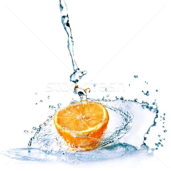 Stock fotó: édesvíz · cseppek · narancs · izolált · fehér · étel