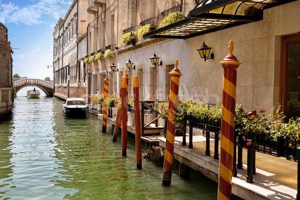 Venedik kanal gökyüzü ev tekne mimari Stok fotoğraf © artjazz