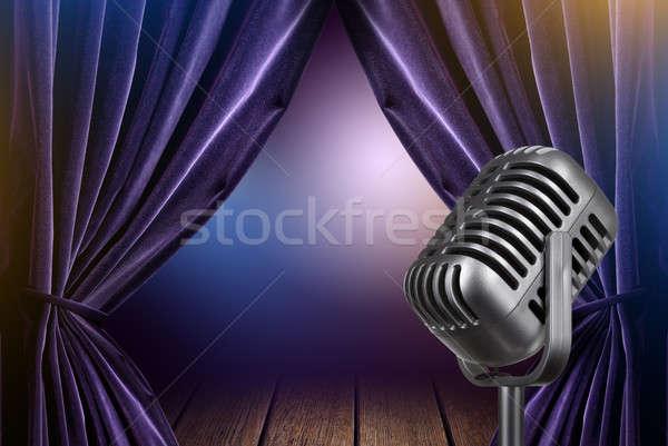 Etapie otwarte zasłony mikrofon metal film Zdjęcia stock © artjazz