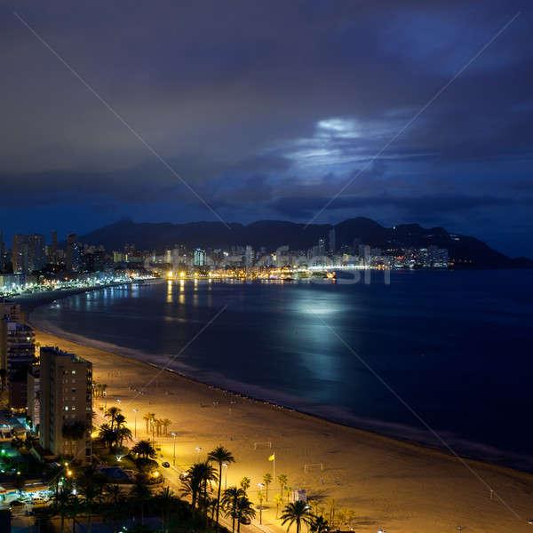 Vista noche España playa edificio sol Foto stock © artjazz
