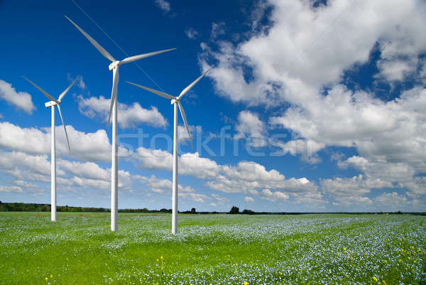 Wind generator turbine on spring landscape Stock photo © artjazz