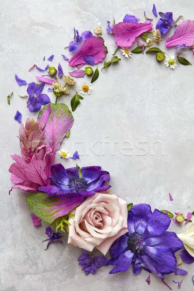 Kwiaty szary formularza księżyc projektu Zdjęcia stock © artjazz