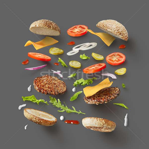 Stockfoto: Hamburger · ingrediënten · donkergrijs · top · hamburger