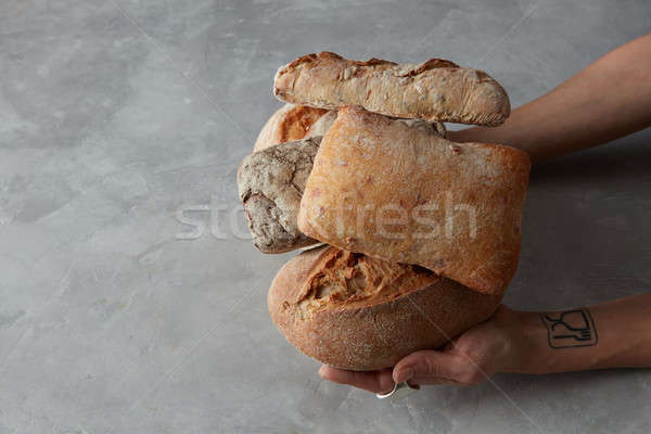 Different kinds of bread on background Stock photo © artjazz