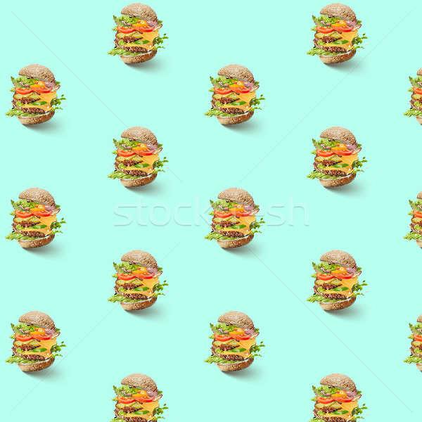 Patrón vuelo hortalizas hamburguesa queso Foto stock © artjazz