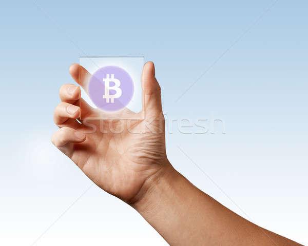 El şeffaf dijital ekran bitcoin ikon Stok fotoğraf © artjazz