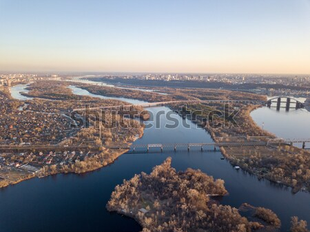 city of Kiev with a view of the Obolon area, the North Bridge and the right side of the city Stock photo © artjazz