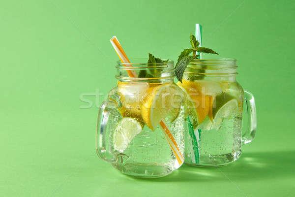 Hideg természetes limonádé buborékok levegő trópusi Stock fotó © artjazz