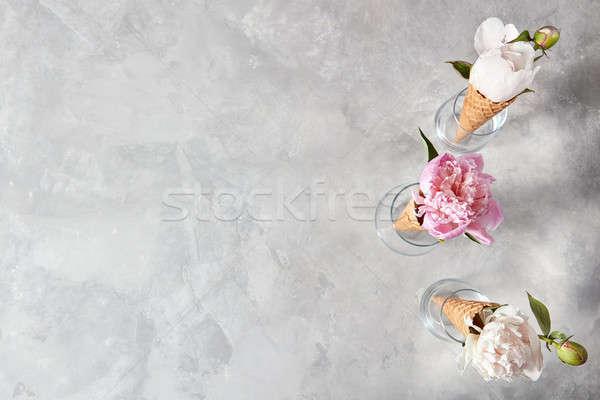 Stock fotó: édes · waffle · gyönyörű · virágok · üveg · virágzó