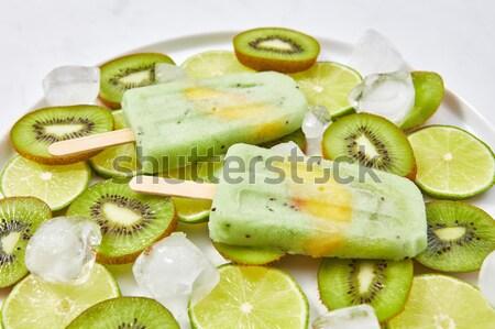 домашний мороженым Stick кусок персика шаблон Сток-фото © artjazz