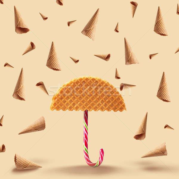 Waffle caramelo guarda-chuva chuva amarelo textura Foto stock © artjazz