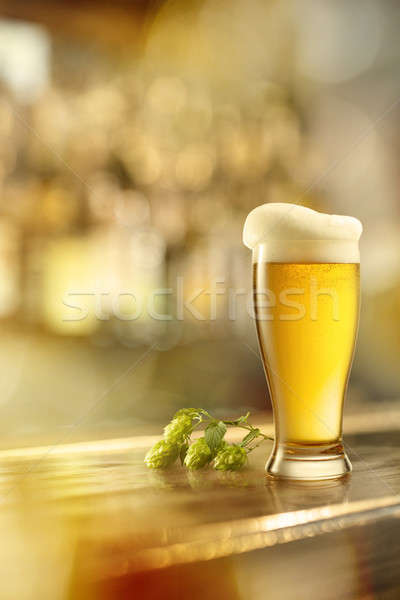 glass of beer on a table in a bar Stock photo © artjazz