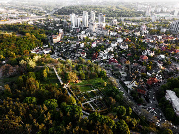 Aerial view of the botanical garden and the city of Kiev, Ukraine. Photo from the drone Stock photo © artjazz
