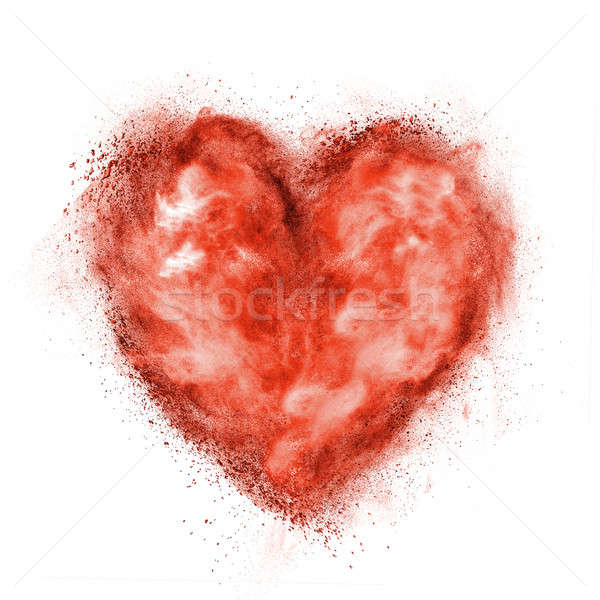 red heart made of black powder explosion isolated on white Stock photo © artjazz