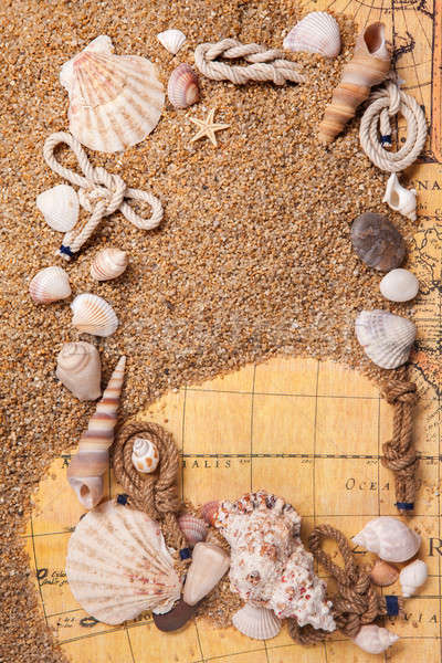 frame from various shells on sand and old map Stock photo © artjazz