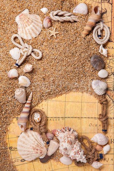 Frame schelpen zand oude kaart top Stockfoto © artjazz