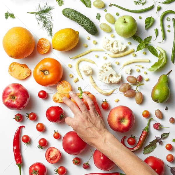 Stock fotó: Egészséges · étkezés · kezek · étel · fehér · különböző · gyümölcsök