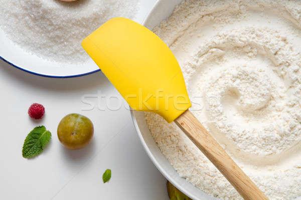 Vorbereitung Zubehör Küche weiß Tabelle Stock foto © artjazz