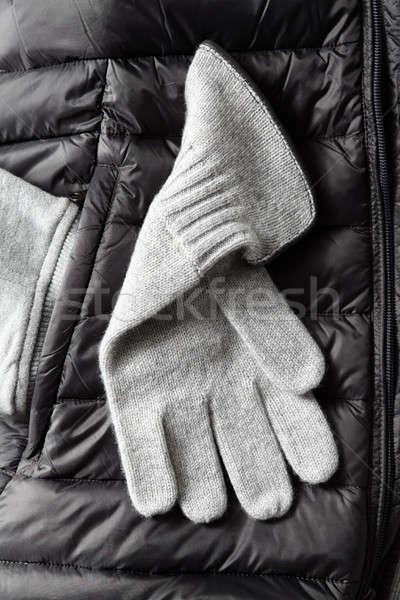Nieuwe grijs wol handschoenen winter jas Stockfoto © artjazz