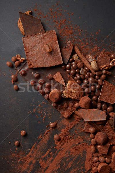 Foto stock: Chocolate · luxo · preto · mármore · páscoa · doce