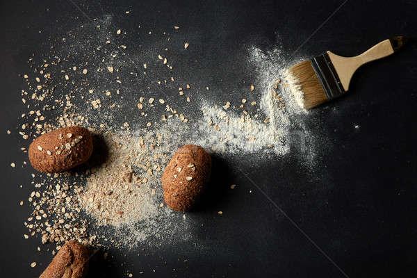 Fresh baked buns with brush Stock photo © artjazz