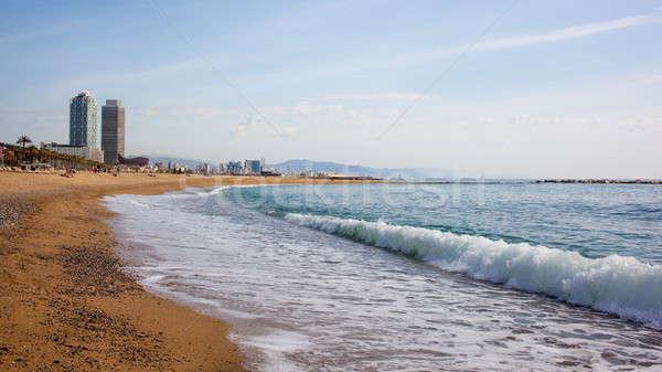 Sand beach in Badalona. Catalonia Stock photo © artjazz