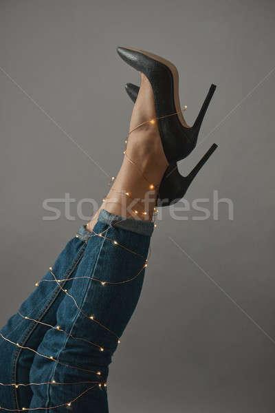 ног женщину из украшенный Рождества Сток-фото © artjazz