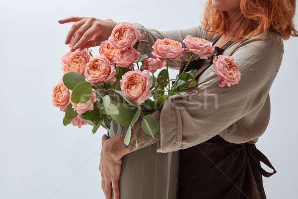 少女 花瓶 花束 バラ ピンク ストックフォト © artjazz