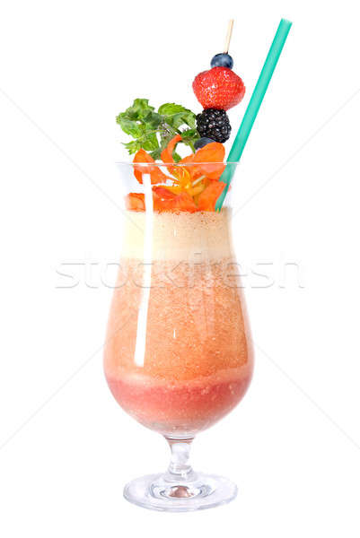 fitness cocktail with berries and flowers isolated on white Stock photo © artjazz