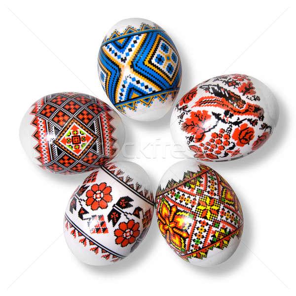 Stock fotó: Húsvéti · tojások · fehér · húsvét · tojás · háttér · narancs