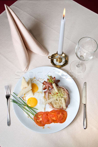 Anglais déjeuner plaque restaurant alimentaire fond Photo stock © artjazz