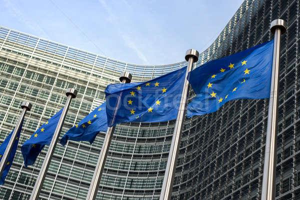 Avrupa sendika bayraklar Bina Avrupa Brüksel Stok fotoğraf © artjazz
