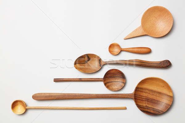 堆 不同 廚房 木 刀具 商業照片 © artjazz