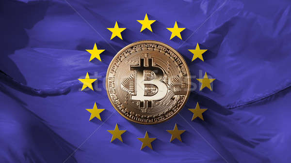 Stars of the European Union and coin bitcoin gold on an ultraviolet background Stock photo © artjazz