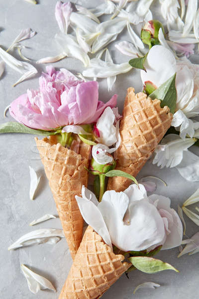 Card for congratulations of wafer cones with gentle white and pi Stock photo © artjazz