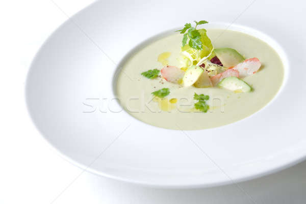 cold soup with crab on the plate Stock photo © artjazz