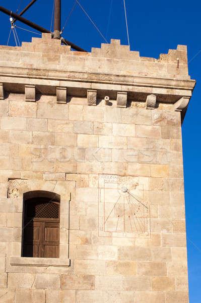 солнечные часы замок Барселона Испания текстуры здании Сток-фото © artjazz